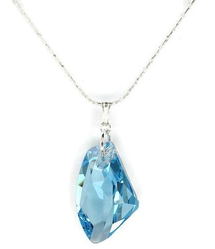 Aquamarine Crystal Silver Necklace