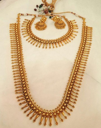 Artificial Long Style Temple Jewellery Necklace Set