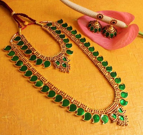 Artificial Ruby Temple Jewellery Set