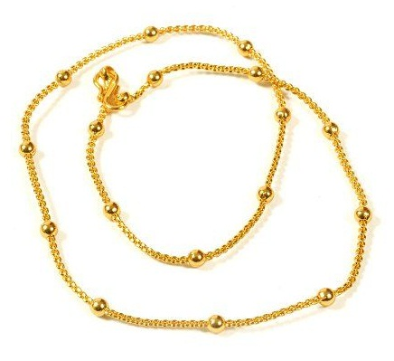 Beaded gold plated chain