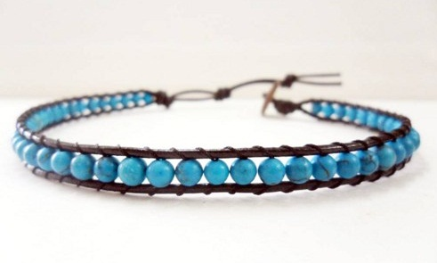 Beaded leather anklet