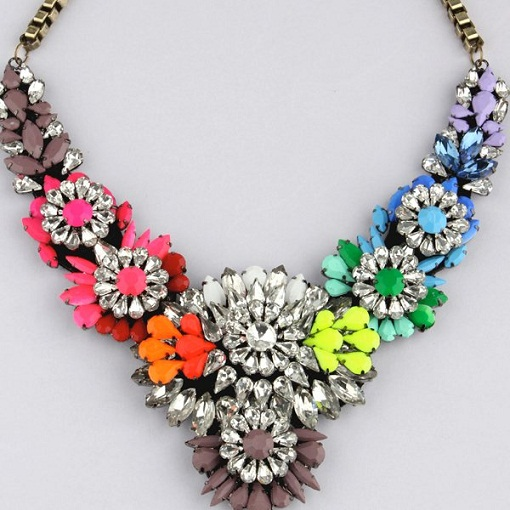 Big Multi-colored Crystal Necklace