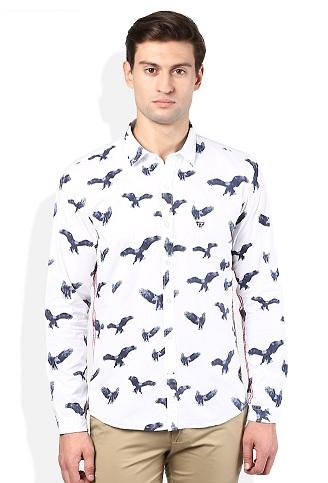 Bird print white shirt