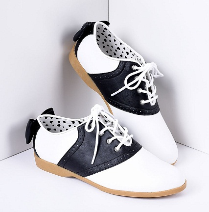 Black and white Classic Bow Saddle Shoes