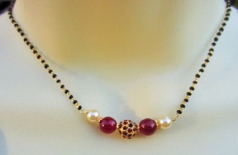Black bead-Pearl-Ruby Mangalsutra Chain with Pendant