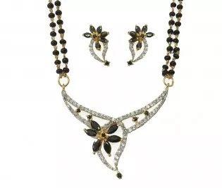 Black flower silver mangalsutra