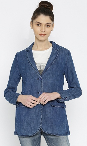 Blue Denim Single-Breasted Casual Blazer-6