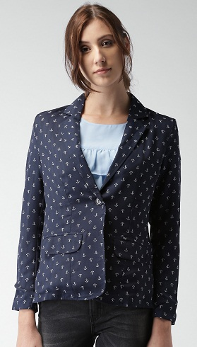 Blue Printed Denim Single-Breasted Casual Blazer -7