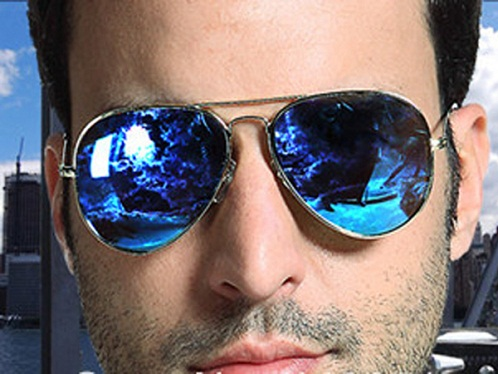 Blue Reflective Aviators for Men