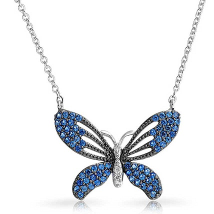 Blue Sterling Steel Butterfly Charm Necklace