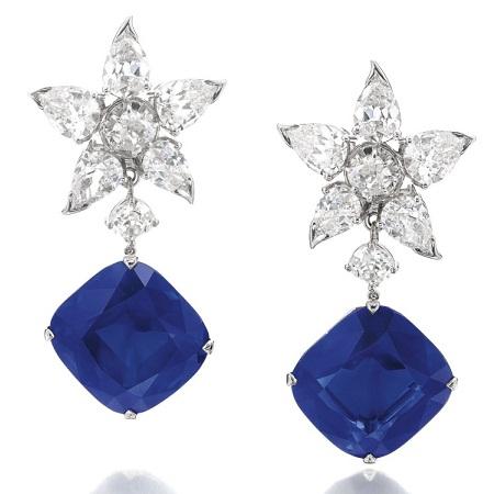 Blue sapphire star drop earrings