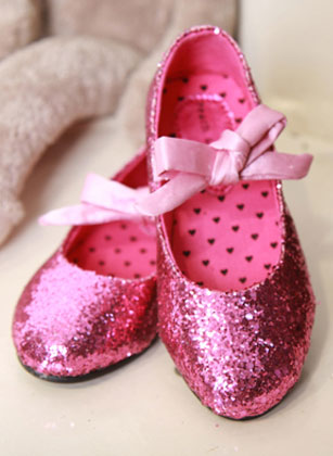 Blush Pink Flat Shoes with Polka Dots