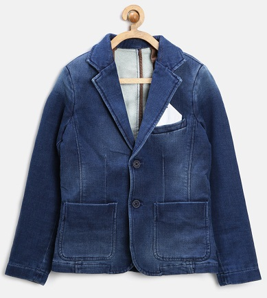 Boys Blue Washed Denim Blazer -5