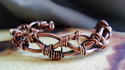 Braided Copper Wire work Cuff Custom Bracelet