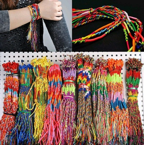 Braided colourful rubber bracelets