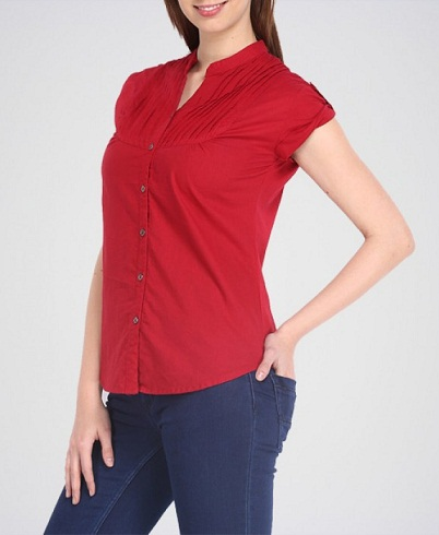 Cap Sleeve Red Shirt