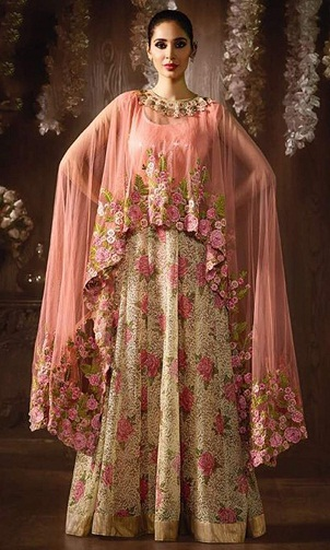 Cape design floor length Anarkali suit