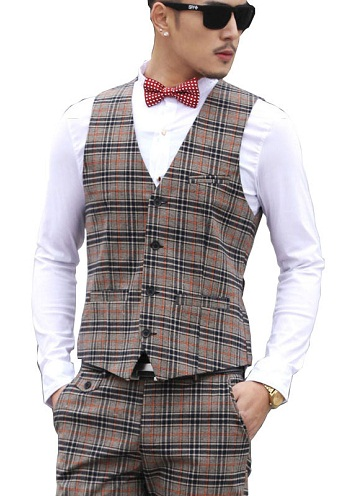 Casual plaid suit vest