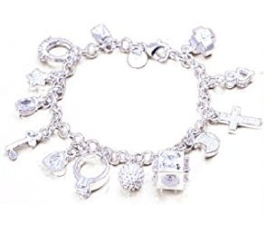 Chain Platinum bracelet with pendants for Women -11