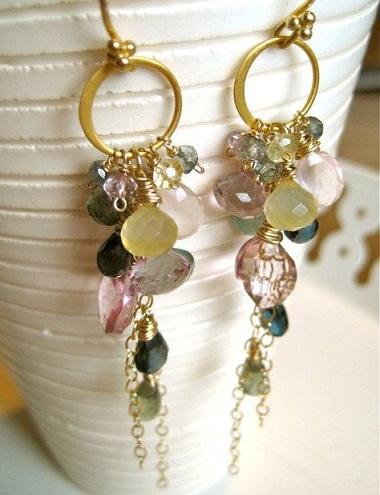 Chandelier Gemstone earrings