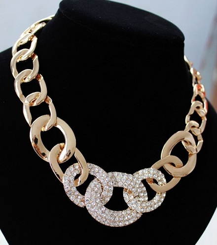 Chunky Gold Plated Metal Necklace
