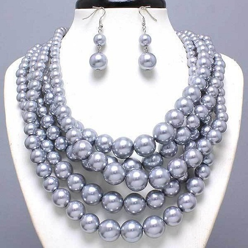 Chunky Grey pearl Necklace