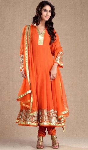 Churidaar style orange salwar suit