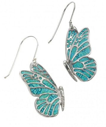 Closed view butterfly earrings