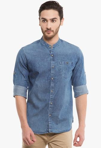 Collarless denim shirt for men