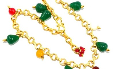 Colour Gemstone Gold plated Anklet