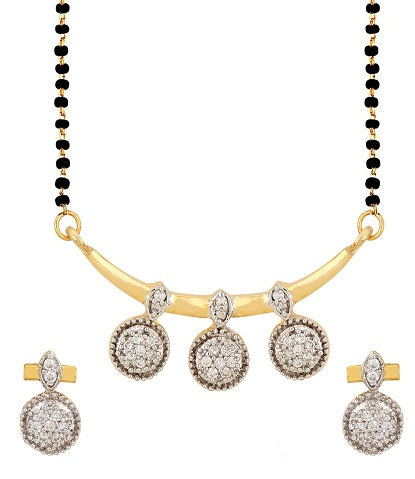 Contemporary American diamond stud mangalsutra set