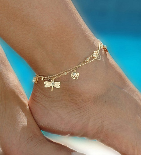 summer pendant golden heart beach cool euramerican jewery anklet women delicate girl pin charming lady anklets silvery