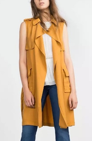 Crepe long designer vest for women