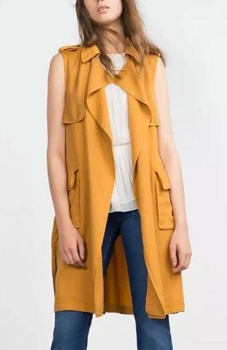 Crepe long designer vest for women
