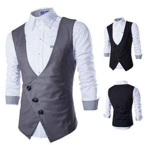Cross buttoned grey suit vest
