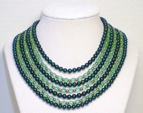 Crystal Green Bead Necklace