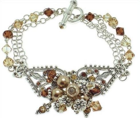 Crystal bead charm bracelet