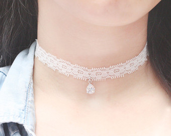 Cubic crystal lace choker