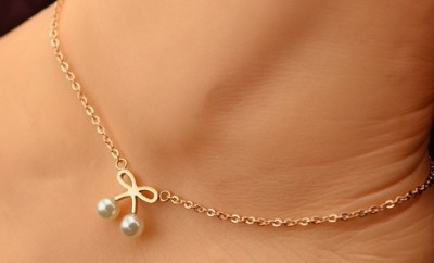 Cute Pearl Bowknot Anklet in Rose Gold