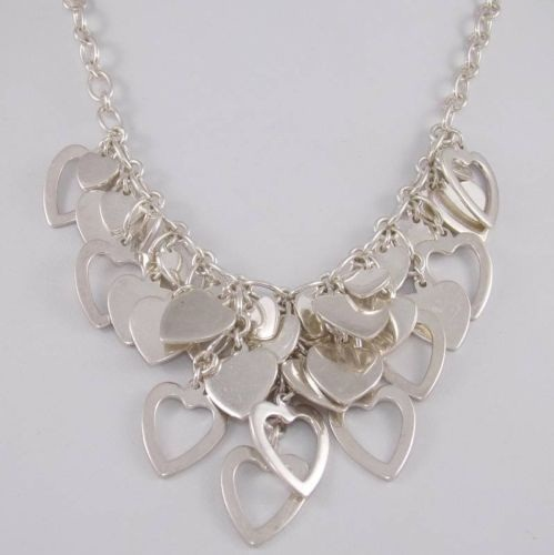 Dangling Heart linked Rolo Sterling Silver Necklace