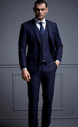 Dark blue business suit vest
