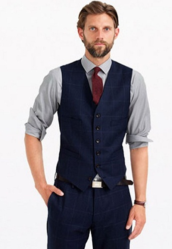 Dark navy blue suit vest