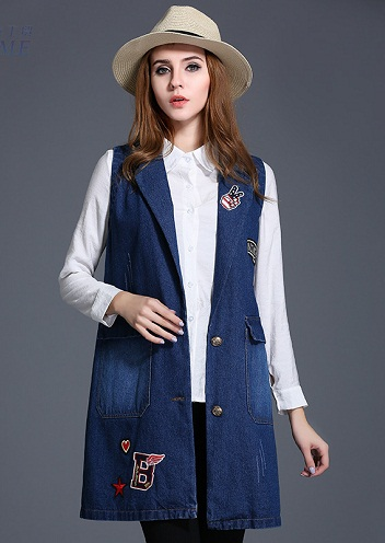 Denim long vest