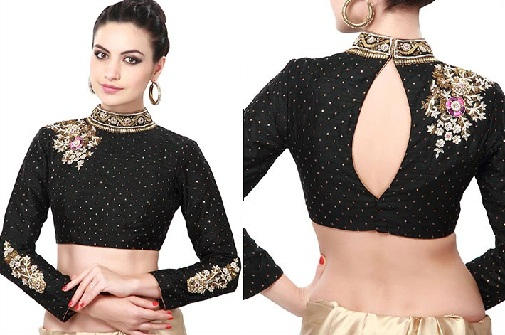 Designed back neck fullhand blouse design -8