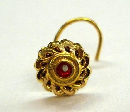 Designer Gold Stud Nose Pin with Gemstones