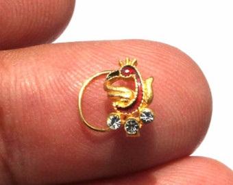 Designer Gold Vermeil Nose Pin with Zircon Stone