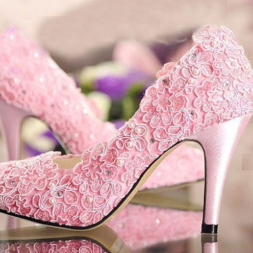 Designer High Heeled Stilettos Pink Shoes
