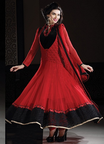 Designer collar neck netted Anarkali Suit