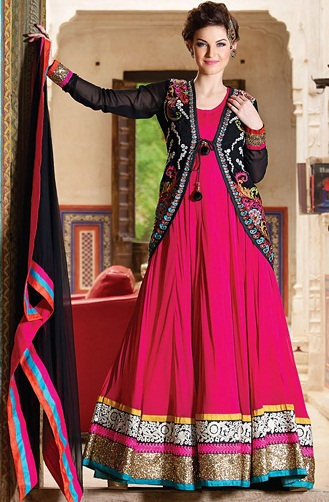 Designer jacket floor length salwar suit