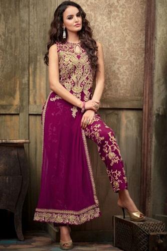 Designer straight cut ankle length salwar suit